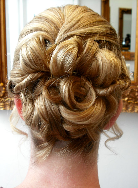 Bridal Hair Style Worthing Up With Large Loops And Low Set